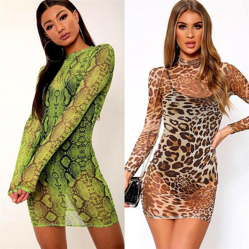 Sexy Women Snake Skin Leopard Print Slim Dress See Through Sheer Mesh Dress Long Sleeve Party Clubwear Mini Dresses Sundress New