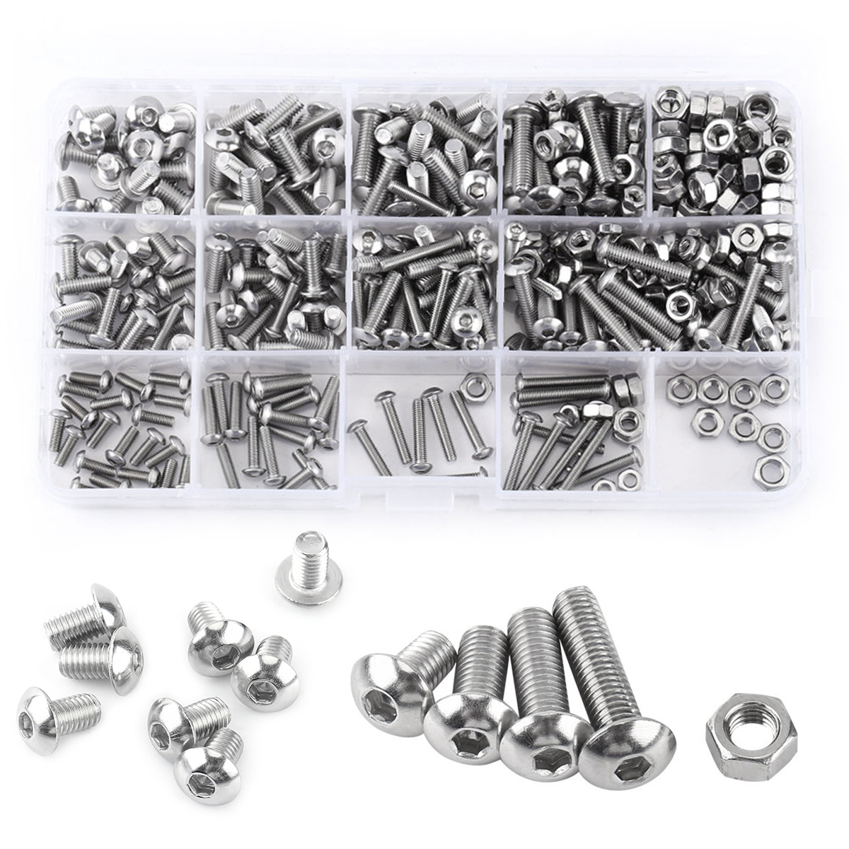 Mayitr 440pcs Stainless Steel Hex Socket Screws Nuts Button Head  M3 M4 M5 Bolts Assortment Kit For Hardware Accessories