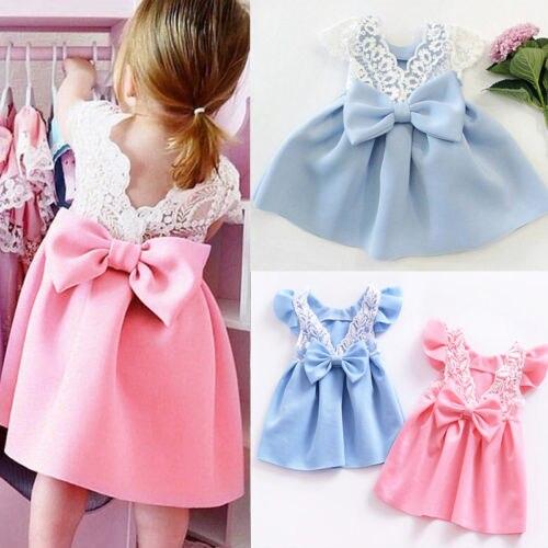 New Toddler Infant Kids Baby Girl Lace Princess Dress Bow Ruffled Backless Sundress Cute Children Summer Dress 3M-3T