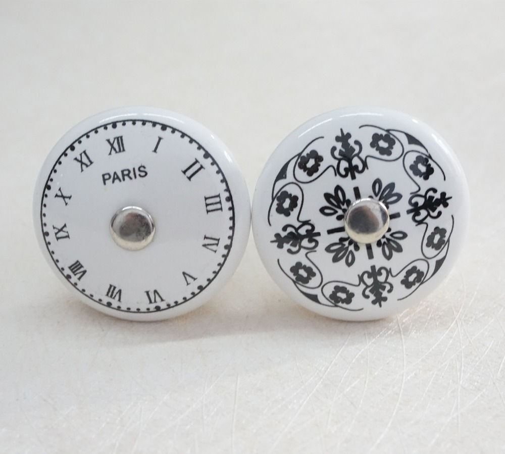Black white ceramic clock flower dresser knobs handles Black knobs on white cabinets