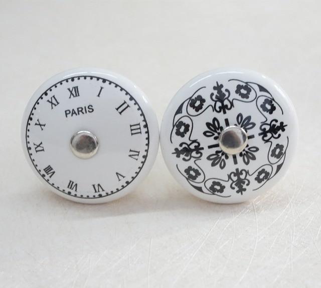 Noir Blanc Cramique HorlogeFleur Dresser Boutons Poignes
