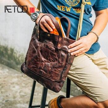 f098b58719d0 AETOO Глава коровьей Мужская сумка через плечо кожаная сумка для ноутбука  carry-на маленькую сумочку