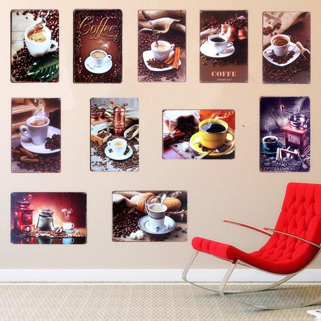 11 Styles HD Coffee Decorative Plates Retro Metal Plaque Vintage Metal Tin Signs Bar Pub Cafe & 11 Styles HD Coffee Decorative Plates Retro Metal Plaque Vintage ...