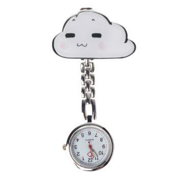 Reloj de cuarzo nuevo, relojes de bolsillo de moda de dibujos animados de nubes, Clip para colgar, joyería de Doctor para mujer, colgante de plata, bonito pecho