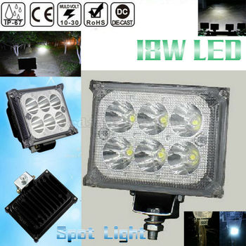 Super Bright 18W Car 4WD Truck Offroad SUV ATV Bar Boat 6 LED Work Light Headlight Driving Fog Spot Headlamp Night Lamp