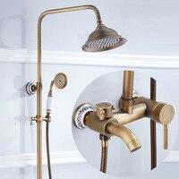 Античная латунь душ Для ванной кран Наборы для ухода за кожей настенный подвергается 8 тропический душ смесители Ретро Керамика смеситель