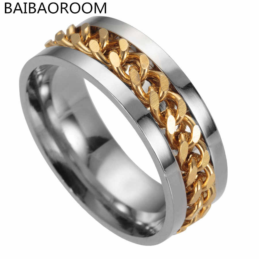 Fashion Jewelry Men Titanium Steel Chain Rings Men Punk Ring Wholesale Gift