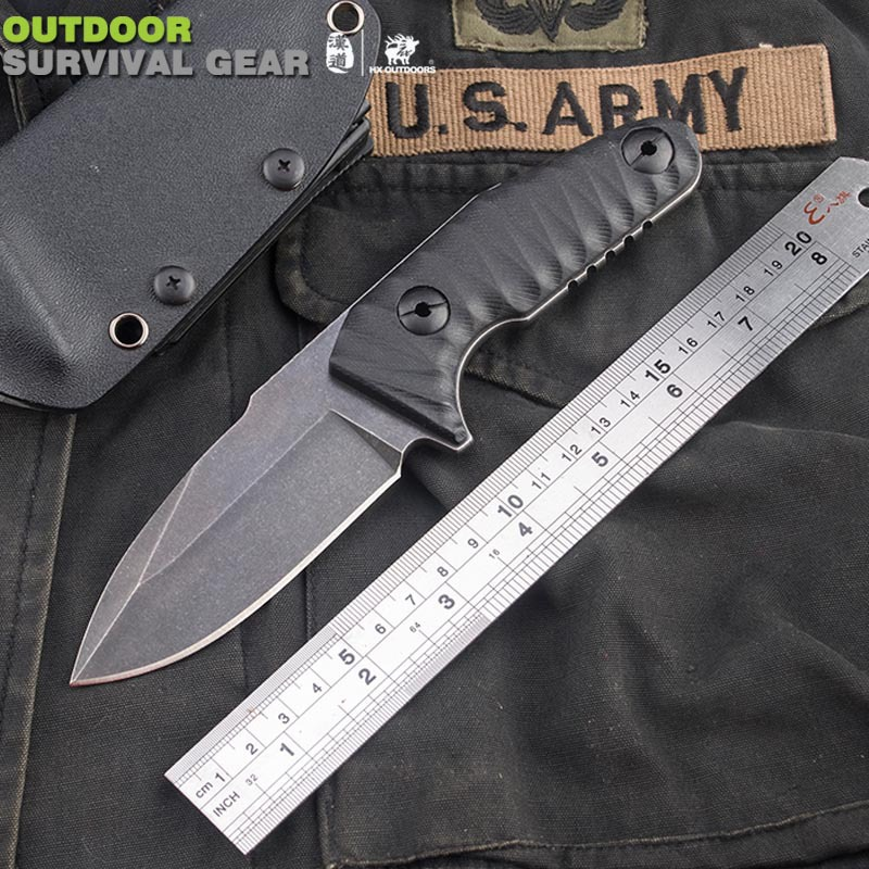 HX OUTDOORS Law enforcers D2 Stainless steel straight knife wilderness survival knife self-defense tool knife High quality hx small mercenary survival hunting knife d2 steel blade fixed blade knife straight camping knives multi tactical hand tools