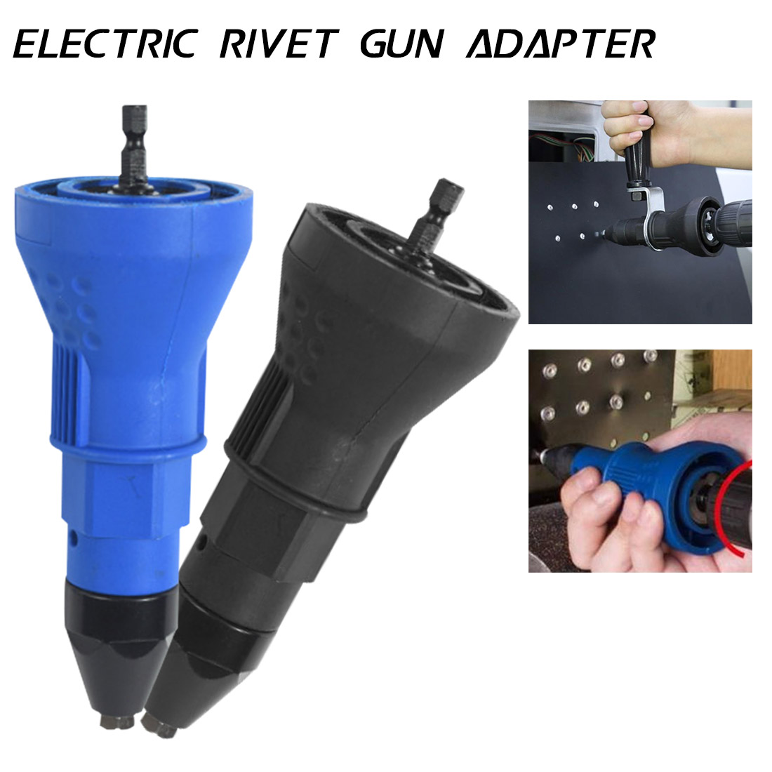 Rivet Adapter Insert Nut Hand Power Nozzle Accessories Electric Drill Tool Blue/Black