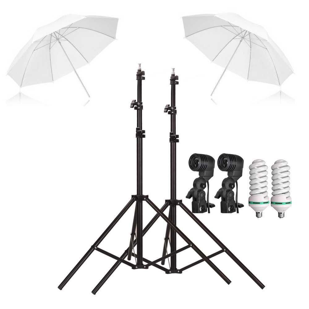 Free shipping Photography Studio kit 33 umbrella 2m light stand E27lamp holder 45W lamps Soft Umbrellas Kit studio accessories ashanks small photography studio kit