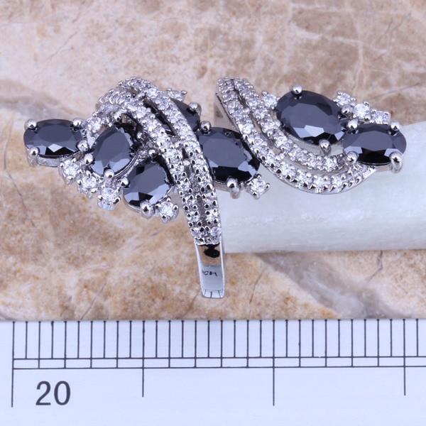Μαύρο Cubic Zirconia White CZ 925 Ασημένιο - Κοσμήματα μόδας - Φωτογραφία 2
