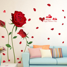 DIY Romantic 3D Wall Art Red Rose Modern Home Decal Wall Sticker Wedding  Room Decoration Wall Decor Decals Flower Poster Picture Part 86