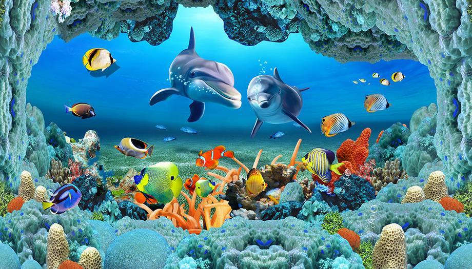 Costumbre Mural De Fotos 3d Wallpaper Piso Dolphin Fish 3d