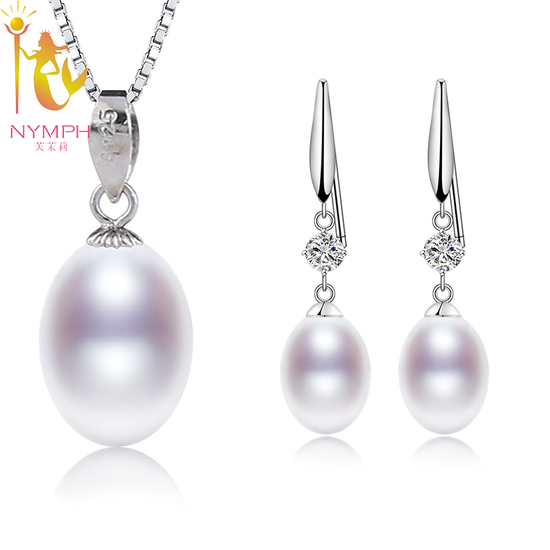 NYMPH Natural Pearl Jewelry Sets 925 Sterling Silver Jewelry Real Freshwater Pearl Pendant Earrings Party