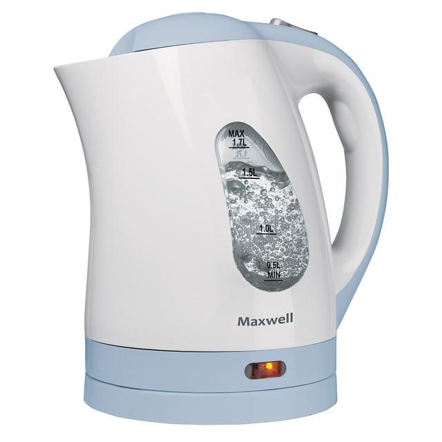 Чайник электрический MAXWELL MW-1014 B (Мощность 2200 Вт, объем 1.7 л, нейлоновый фильтр, индикатор включения, вращение 360°)