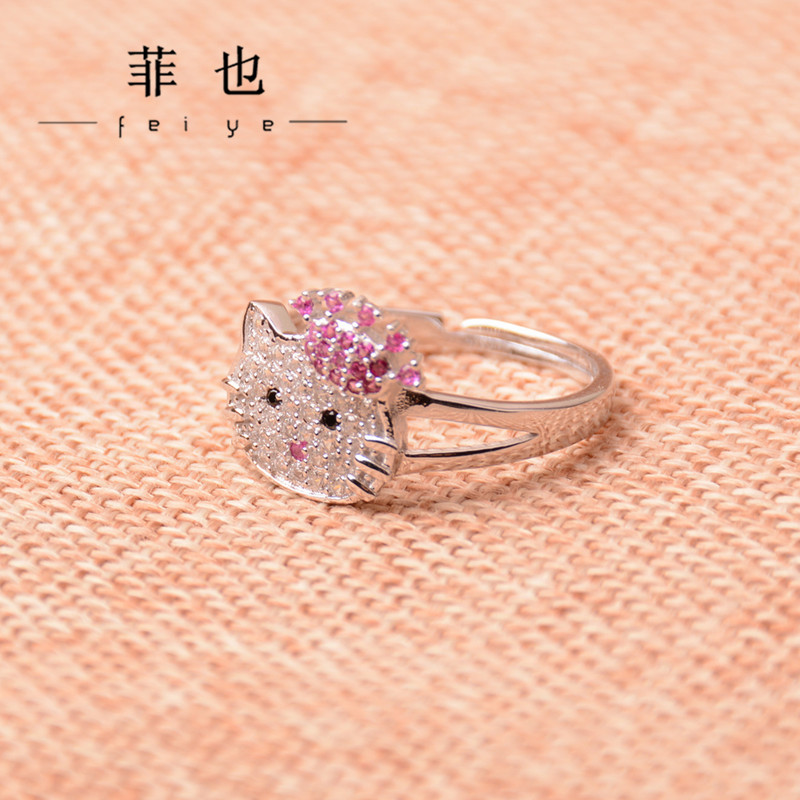 2016 new Cute animal design 925 Sterling silver girl cats ring ...