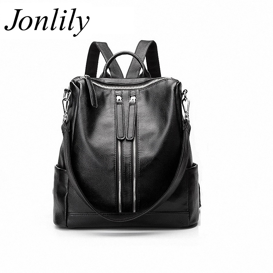 Jonlily Genuine Leather Backpack Women Designer bags High Quality Shoulder Bags New School Bags For Teenagers