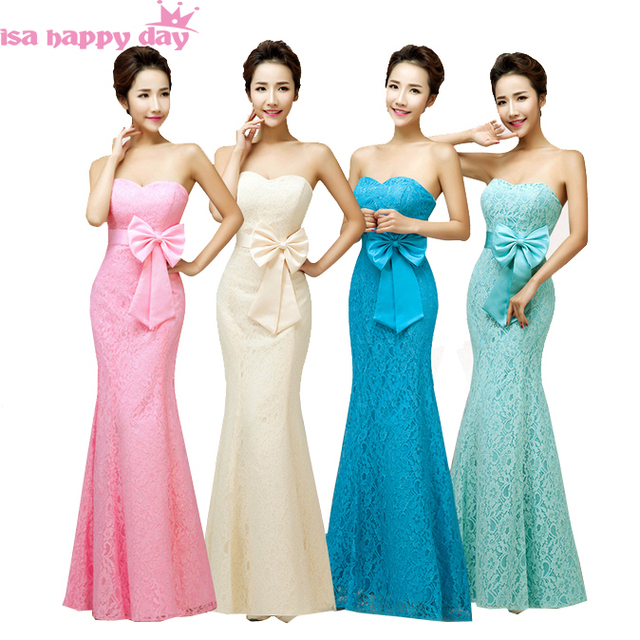 Strapless Lace Bridesmaid Dresses Teal