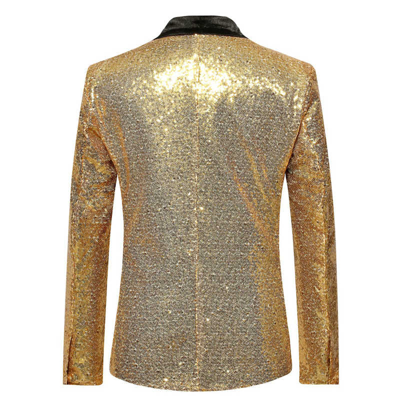 ... Shiny Gold Sequin Bling Glitter Suits Blazer Men 2019 New Shawl Collar  Club DJ Mens Blazer Jacket ... c210672e9e7e