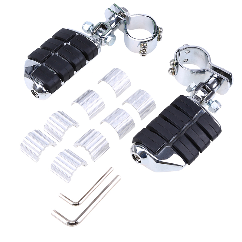 Chrome Aluminum Rubber Motorcycle Foot Rests Foot Pegs Front Rear Pedane Moto For Harley Kawasaki KTM Honda Yamaha motorcycle front rider seat leather cover for ktm 125 200 390 duke