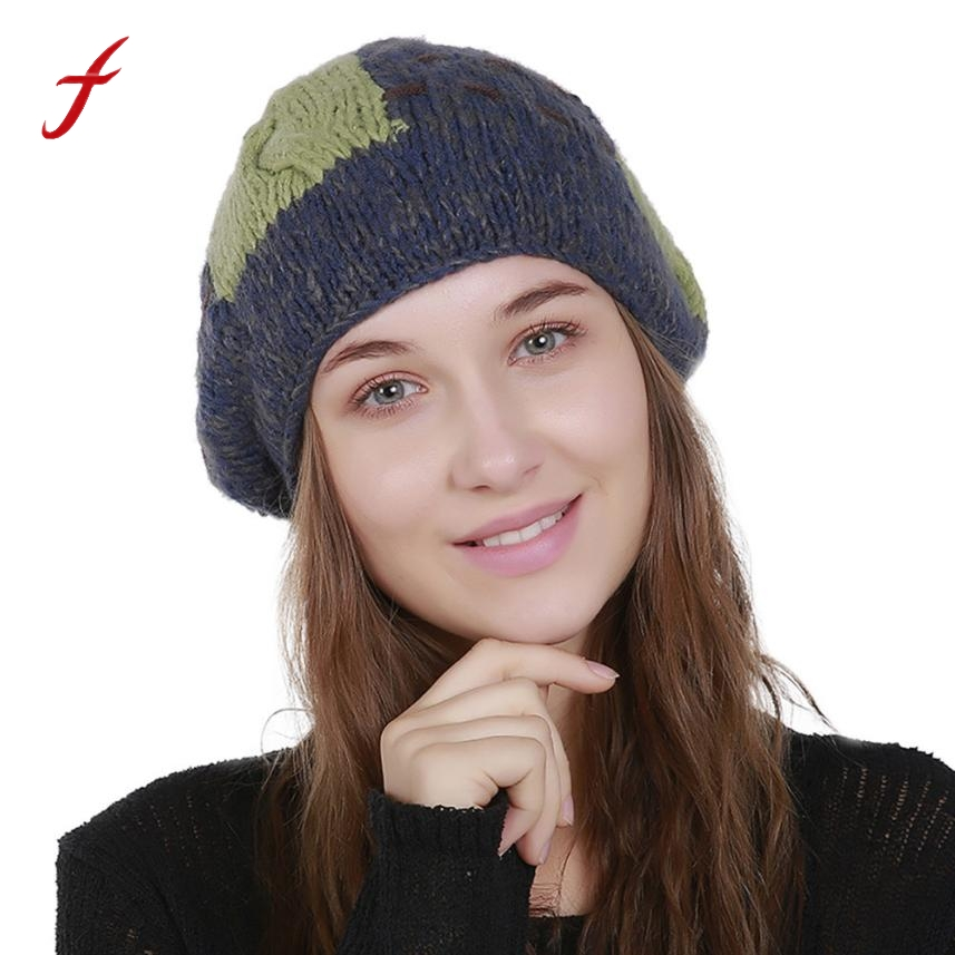 2018 fashion Women Winter Warm hats Women s Knit Wool Color Block Beanie  Winter Hat Ski Crochet fc05ec84d7a