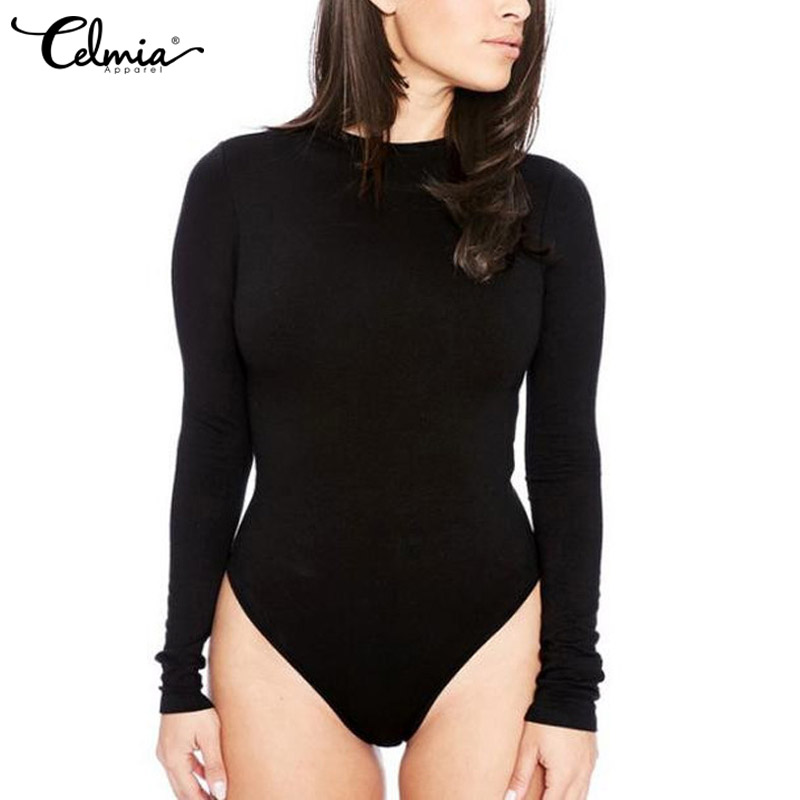Celmia 2018 Women Bodysuits Body Feminino Sexy Jumpsuits  Romper O-neck Long Sleeve Blouse Bodycon Playsuit Bodysuit Plus Size