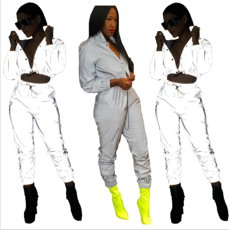 Reflective Clothing  Casual Pants Two Piece Set Women Sexy Reflective Tracksuit Night Version Buttons Turn Down Long Sleeve