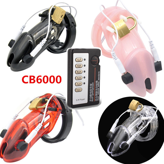 New Arrival 4 Colors Electric Shock Medical Therapy Chastity Device Cb6000 Cb6000s Cock Cage Penis Lock Ring Toys for Man G153
