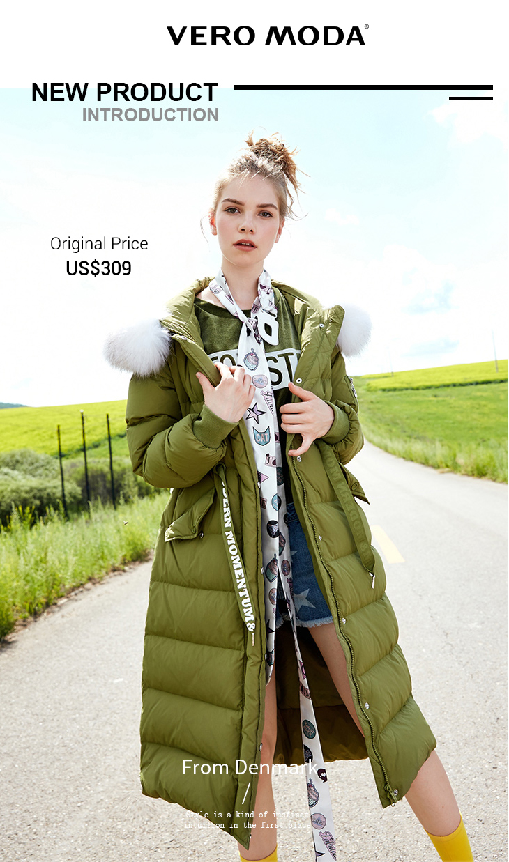 94e9557e8f4b Vero Moda Brand 2018 NEW white duck down fashion solid color hooded long  sleeves long female down jacket coats |317312521