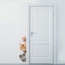 Dogs Cats 3D Wall Sticker Funny Door Window Wardrobe Fridge Decorations for Kids Room Home Decor Cartoon Animal Art Vinyl Decal