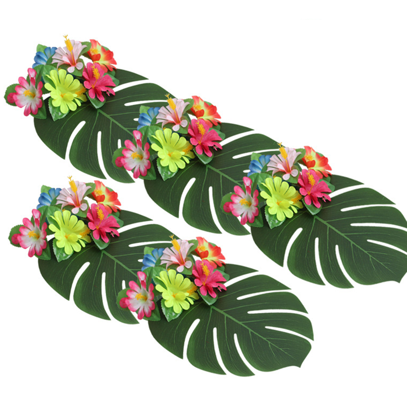 12Pcs Artificial Palm Leaves Hawaiian Luau Theme Party Decorative Palm Leaves for Wedding Decoration Summer Party Decoration in Artificial Dried Flowers from Home Garden