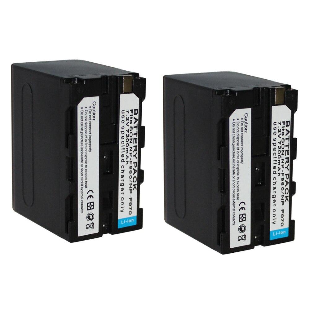 2 pièces NP-F960 NP-F970 rechargeable Batterie NP F970 NPF970 batterie Appareil Photo pour SONY MC1500C 190 P 198 P F950 MC1000C TR516 TR555