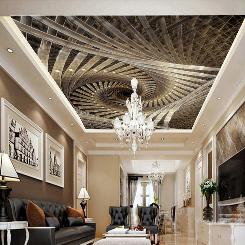 цены Custom photo wallpaper 3D Stereo Spiral Royal Geometric Art Zenith Mural Living Room Restaurant Shopping Mall Ceiling Wallpaper