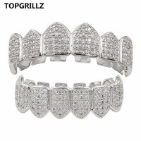 TOPGRILLZ GOLD Color SILVER Plated High Quality CZ Fang Top Bottom GRILLZ Hip Hop Mouth Vampire