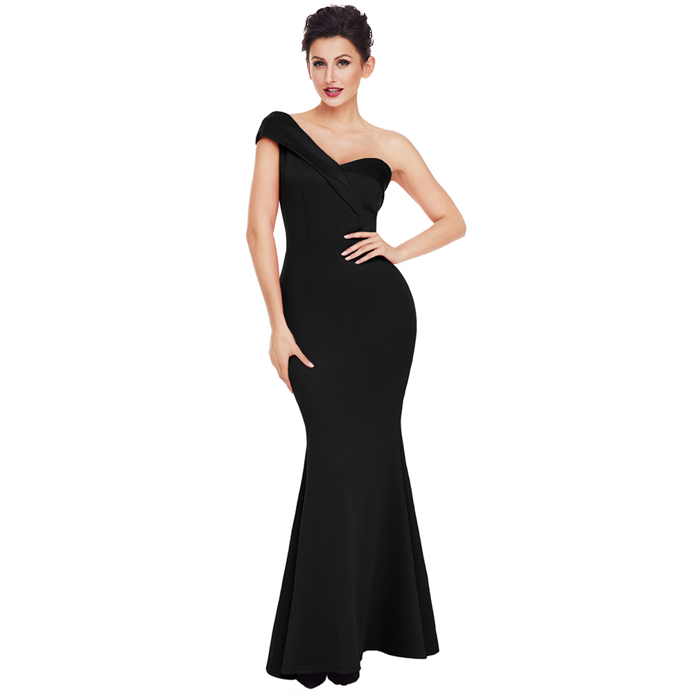 Sexy Black One Shoulder Backless Party Solid Dress For Women 2018 New Floor Length Maxi Gowns Robe de Soiree Longue Long Dress