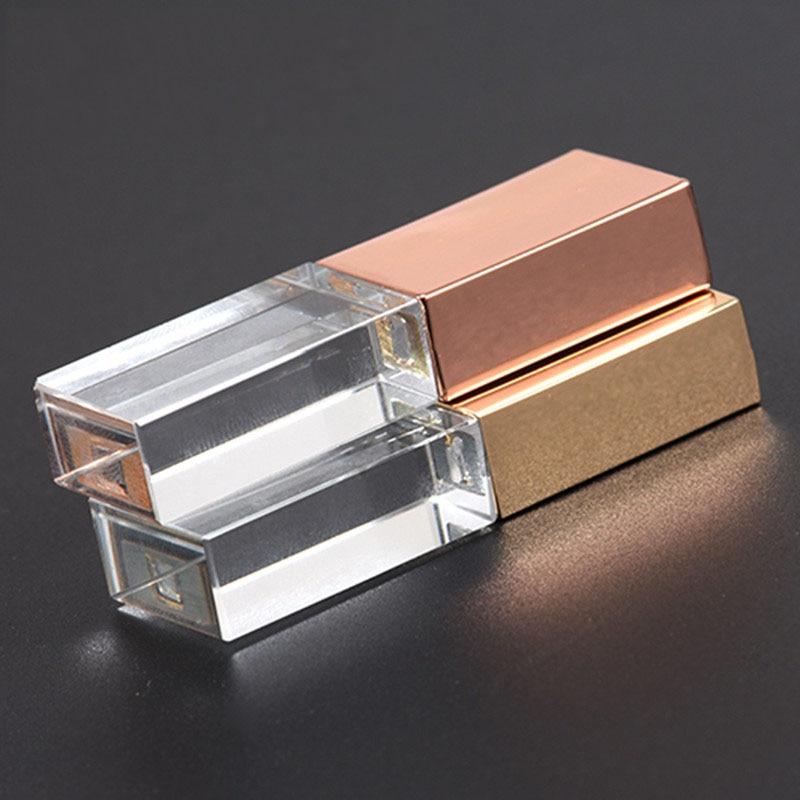 "Powerone ""crystal Usb Sticks 3d Print Custom Logo 10pcs/lot 4gb 8gb 16ggb 32gb 64gb Usb Flash Pendrive Transparent Glass"" Elegant And Graceful"