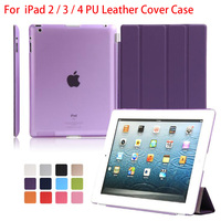 For Apple Ipad 2 3 4 PU Leather Magnetic Front Smart Cover Crystal Hard Back Case