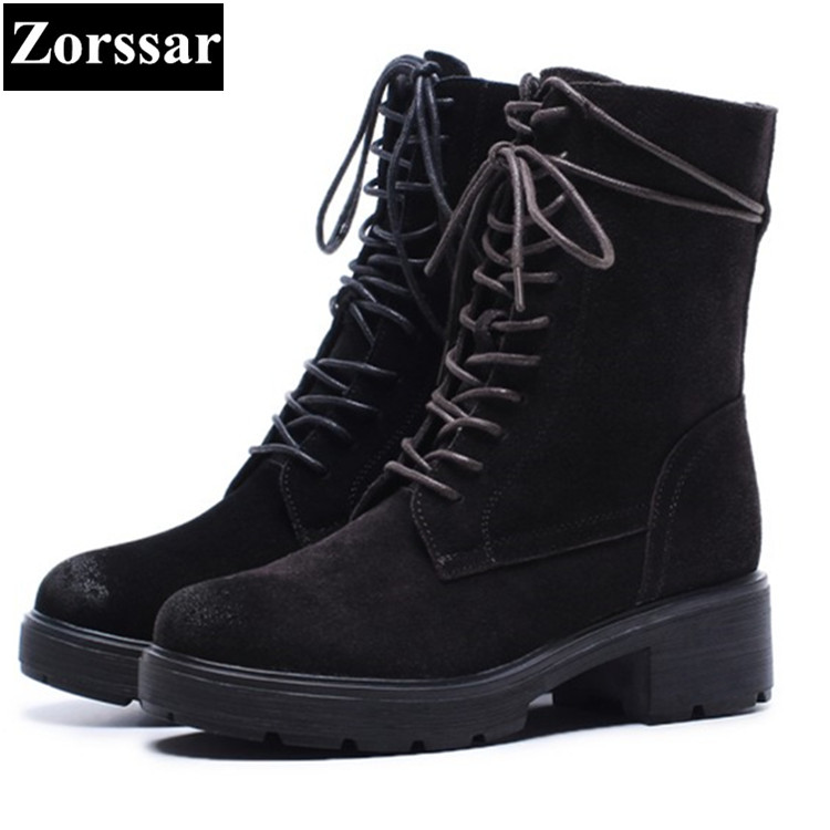 {Zorssar} 2017 NEW winter Womens shoes Round Toe cow Suede high heels platform ankle Martin boots mujer fashion women boots zorssar 2017 new winter ladies shoes fashion real leather women ankle boots high heels platform womens martin boots size 33 43