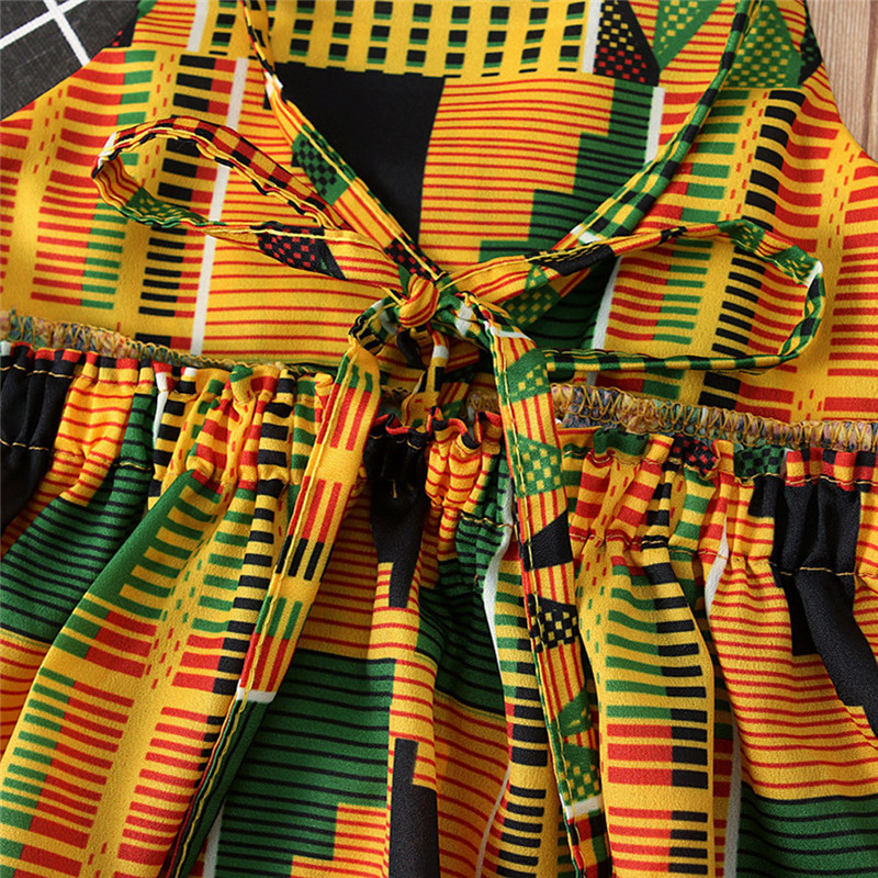 Toddler Baby Girls African Print Off Shoulder Hair Band Princess Casual Dress vestido robe fille  #4j12 (3)