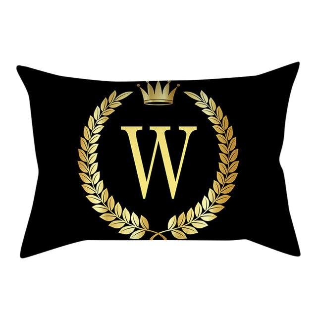 Divano Cuscini Decorativi Copertura Del Cuscino Nero e Oro Lettera Federa cuscin