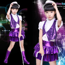 New Children's Jazz Dance Performance Costume Sequins Boys and Girls Modern Dancees Performance Costumes Children's Modern Dance(China)