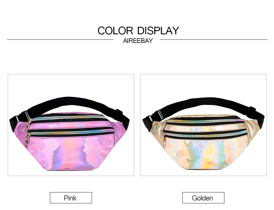 AIREEBAY Holographic Fanny Pack Women Silver Laser Bum Bag Travel  Shiny Waist Bags Fashion Girls Leather Hologram Hip Bag