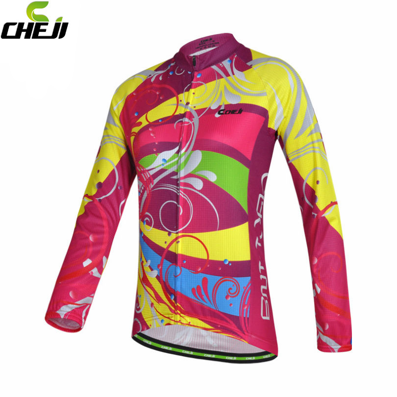 CHEJI Pro Team Cycling Jersey Women Bike Bicycle  Reflective Ropa Ciclismo Long Sleeve Breathable Clothing Shirts Colorfu купить