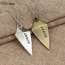 MQCHUN DC Comic Green Arrow Logo Oliver Queen Hero TV Pendant Necklace Fashion Cosplay Movie Jewelry Christmas Birthday Gift
