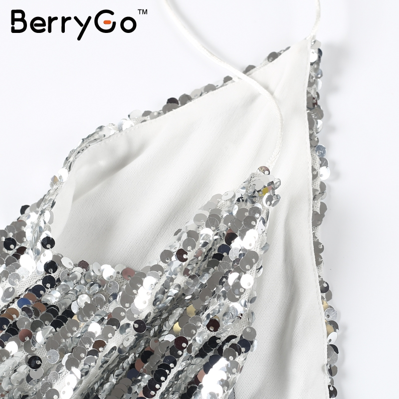 BerryGo Sexy silver sequin women dress Deep v neck sleeveless short dress Elegant evening party dresses casual summer vestidos 13