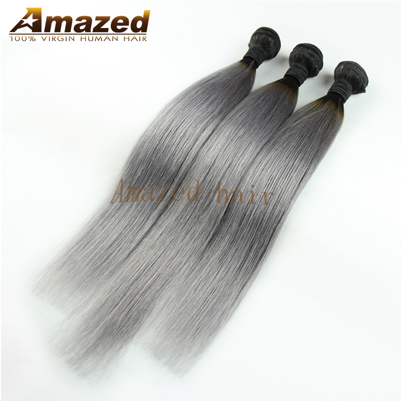 #1b/Grey Ombre Hair Weave Malaysian Silver Grey Hair Extensions 3pcs/lot Grey Hair Weave Straight Ombre Gray Virgin Hair Weave