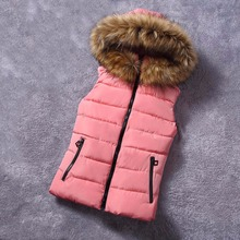 Фотография New for winter fur collar vest down Joker cotton hooded vest women