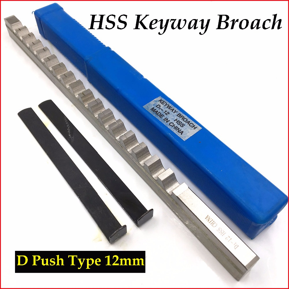 12mm D Push Type Keyway Broach Cutter & Shim HSS High Speed Steel CNC Cutting Tool with Shims New keyway broach 8mm c push type metric size broach high speed steel keyway cutting tool for cnc router