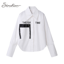 Simshion 2017 Women Summer Casual Fashion Blouse Shirts Button Long Sleeve Black White Ladies Printing Shirts One Size