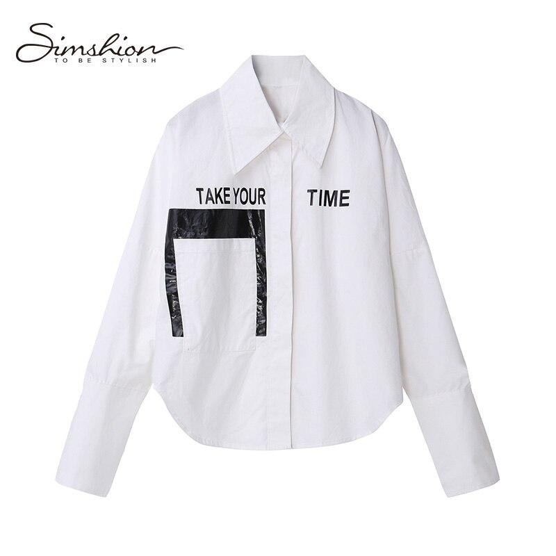 Simshion Women Summer Casual Fashion Blouse Shirts Button Long Sleeve Black White Ladies Printing Shirts One